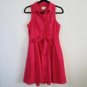 Anthro HD in Paris Pink Printemps Linen Dress sz4
